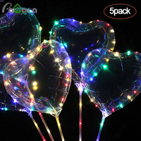 5 шт. 18 ''светодиодный свет вверх шары звезда в форме сердца, прозрачный светящиеся воздушные шары Bobo с светодиодный гирлянды для праздновани...