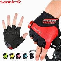 Santic Men Women Cycling Short Gloves Mittens Unisex Summer Half Finger Cool Feeling Anti Pilling Anti