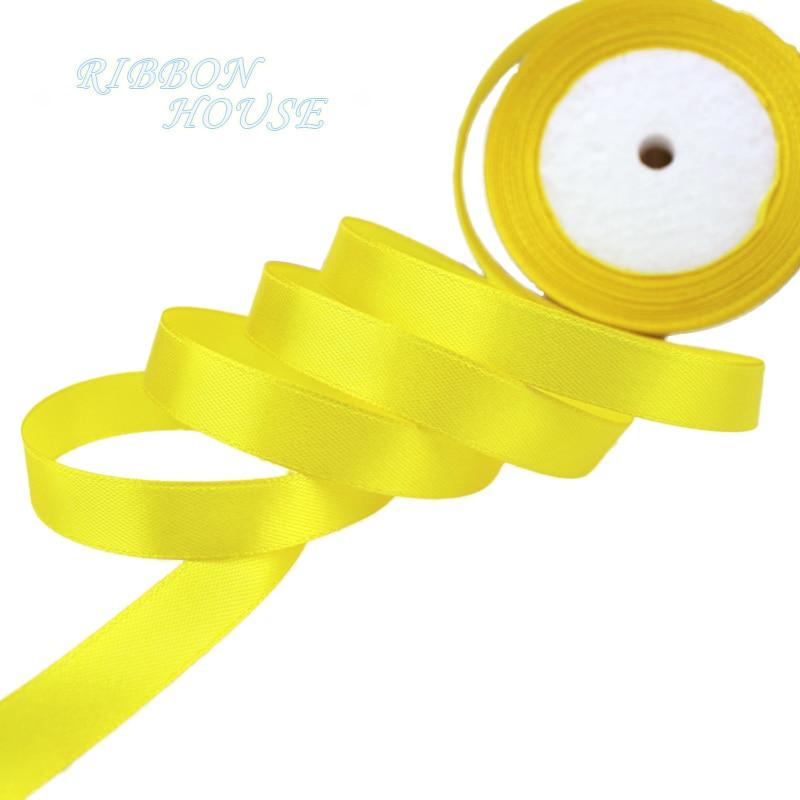 25 ярдов/рулон) атласная лента оптом, подарочная упаковка, рождественские украшения сделай сам, с лентой, с местом для рулон ткани(6/10/12/15/20/25/40 мм - Цвет: Цвет: желтый