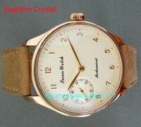 Sapphire Crystal 44mm PARNIS Butter yellow dial asian 6497/3600 Mechanical Hand Wind movement men's watch 30