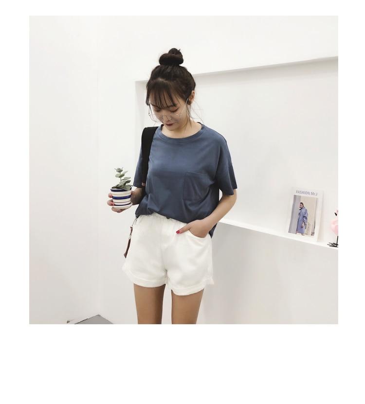 Roll Up Hem Elastic Waist Pocket Blue White Jeans Female 22