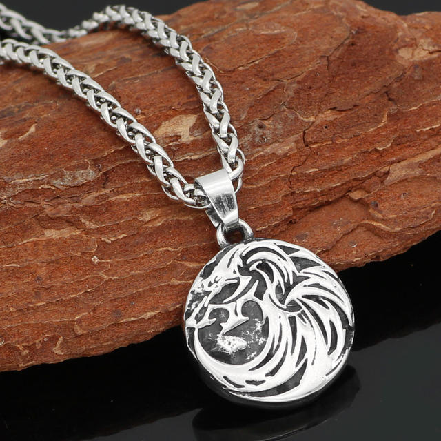 STAINLESS STEEL NORDIC VIKING ODIN WOLF NECKLACE