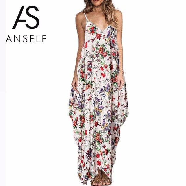 Anself 2019 בוהמי פרחוני הדפסת ארוך קיץ שמלת נשים סקסי V צוואר ללא משענת חוף מקסי שמלות בתוספת גודל מזדמן Vestidos 5XL