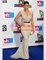 Vestido de la celebridad Kim Kardashian Desnuda Cepillo Tren Vestidos de Noche 2014 Premios Red Carpet Vestidos Sirena Encuadre de cuerpo entero Gasa Con Cuello En V