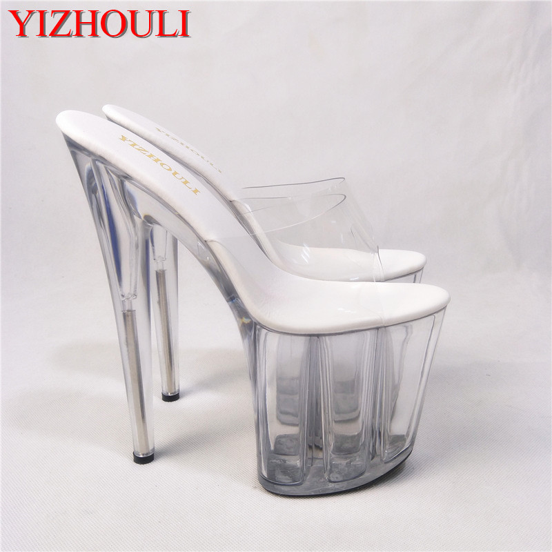 358eaf79da5 US $55.08 32% OFF|8 Inch Clear High Heel Sandals Gorgeous Crystal Slippers  Low Price 20cm Platform Women's Shoes Club Heels For Ladies Casual Shoe-in  ...