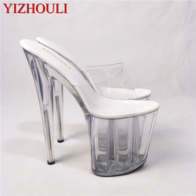 d7542ad63f US $81.0  8 Inch Clear High Heel Sandals Gorgeous Crystal Slippers Low  Price 20cm Platform Women's Shoes Club Heels For Ladies Casual Shoe-in High  ...