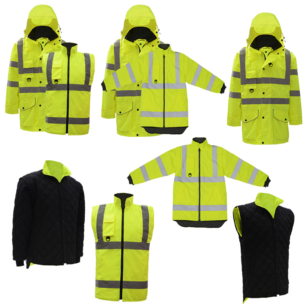 SFvest EN471 ANSI/SEA 107 AS/NZS  Hi vis 7 in 1 waterproof parka windbreaker workwear rain coat reflective safety jacket