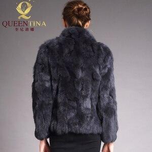 Image 2 - 2020 High Quality Real Fur Coat Fashion Genuine Rabbit Fur Overcoats Elegant Women Winter Outwear Stand Collar Rabbit Fur Jacket