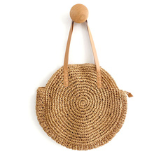 Women Shoulder Bag Tote Large Handbag Handwoven Big Straw Round Portable Natural Ladies 2019New Beach
