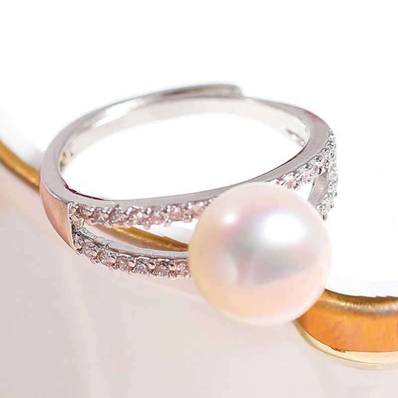 DMCRFP012 9-10 мм полукруглое жемчужное кольцо с медным покрытием Платиновое кольцо для женщин