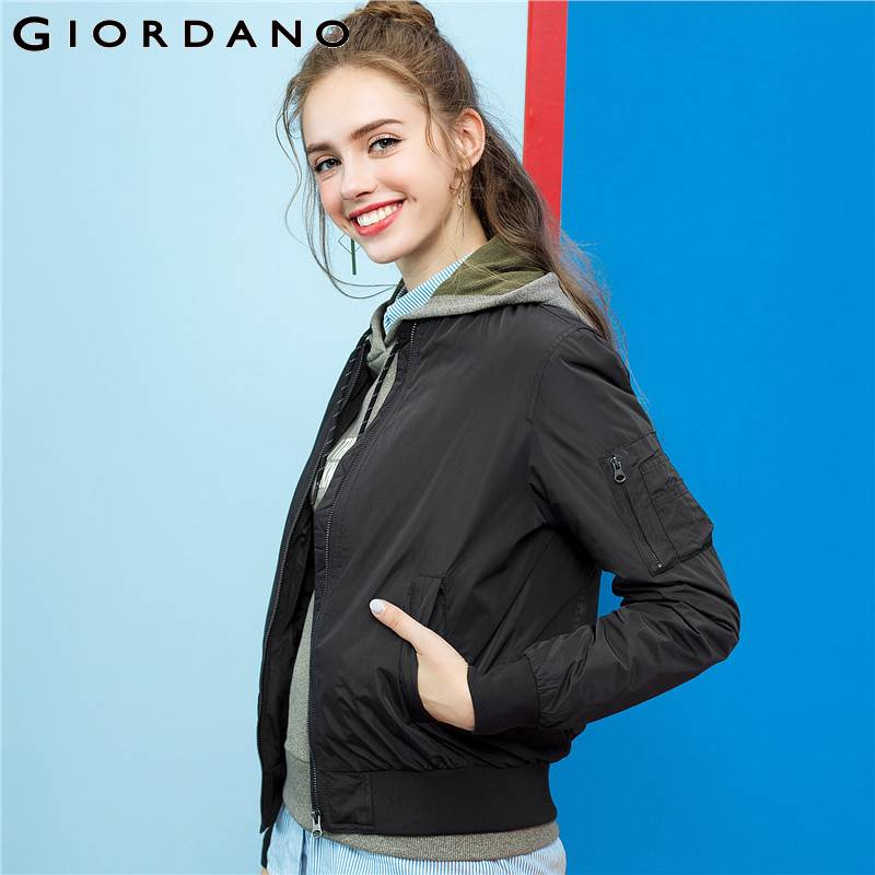Giordano Women Bomber Jacket Women Quilted Solid Bomber Jacket Polyester Wearable Zip Coat Women Pocket Ribbed