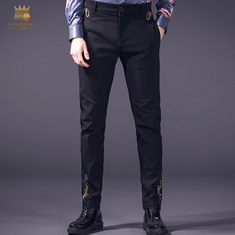 Fanzhuan Free Shipping New 2018 spring simple mens casual trousers male embroidered design black pants skinny jeans 818022