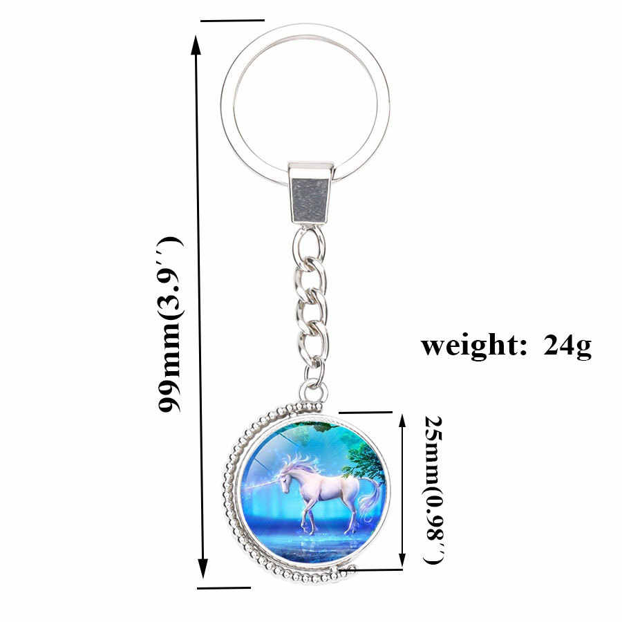 99mm unicornio llavero hombres mujeres bolso coche joyería colgante doble lado vidrio cabujón giratorio llavero anillo soporte