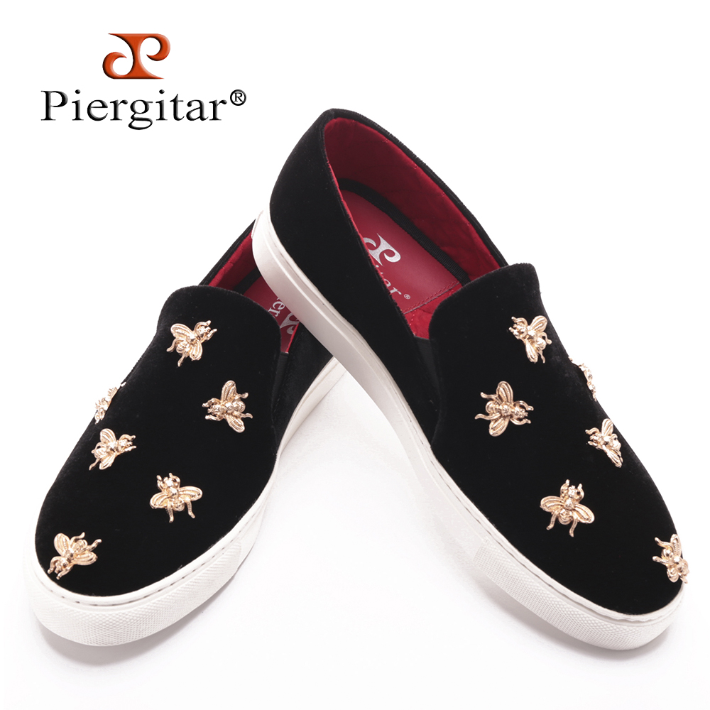 Spring/Summer New Design Piergitar Handcrafted Golden Metal Bees Men's Velvet shoes Easy Walk Casual Style Male Loafers-in Men's Casual Shoes from Shoes    1