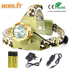 BORUIT 3400LM T6 LED Headlight 18650 Battery Headlamp For Hunting Fishing Military camouflage Sport Head Torch