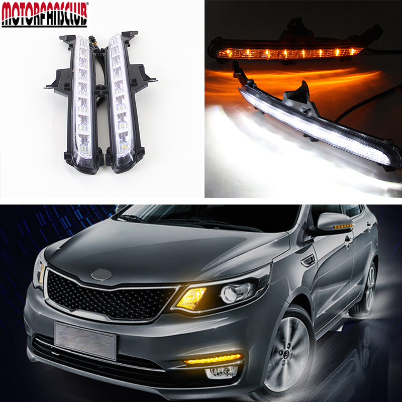 Automobiles Lights 12V LED Daytime Running Lights For KIA Rio K2 2015 DRL Refit Car Styling Fog Lamp With Yellow Turn Signals new led fog light with drl daytime running lights with lens fog lamps car styling led refit original fog for toyota matrix