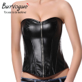 Burvogue Women Fashion Leather Corset Overbust Top Strapless Sexy Black Leather Zipper Corset Tops S-6XL