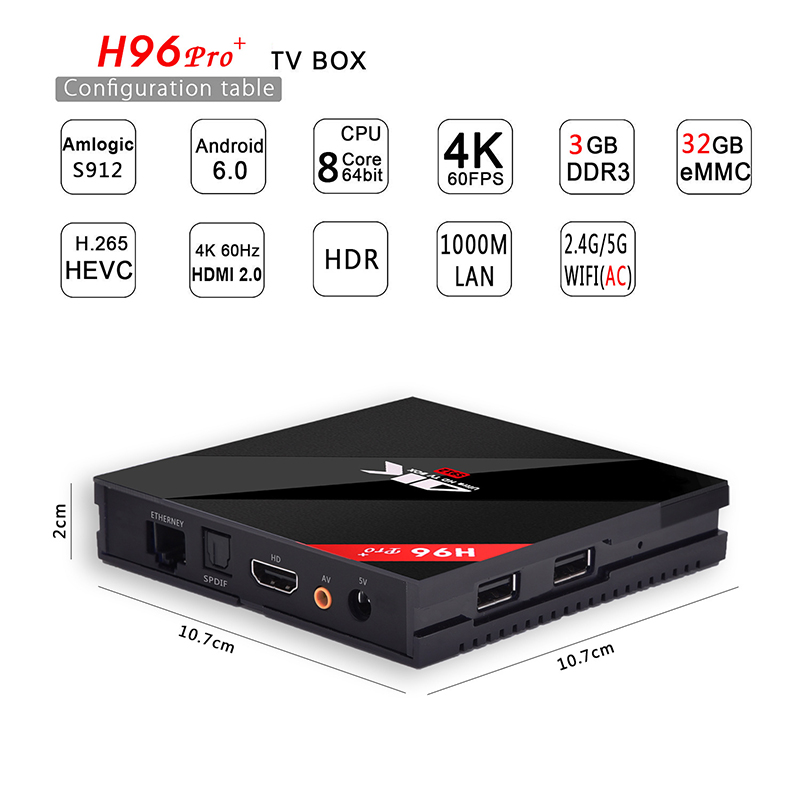 Boîtier tv intelligent LAN 3 GB/32 GB 1000 M avec s912 huit cœurs haut avec décodeur WIFI 4 K réseau Android HD