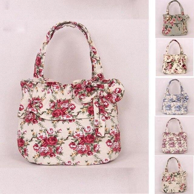 b8cc3e3755f New Fashion Vintage Canvas Flower Tote Bag Womens Small Size Handbags  Shopping / Travel TOTE Bag Bowknot MINI Handbag