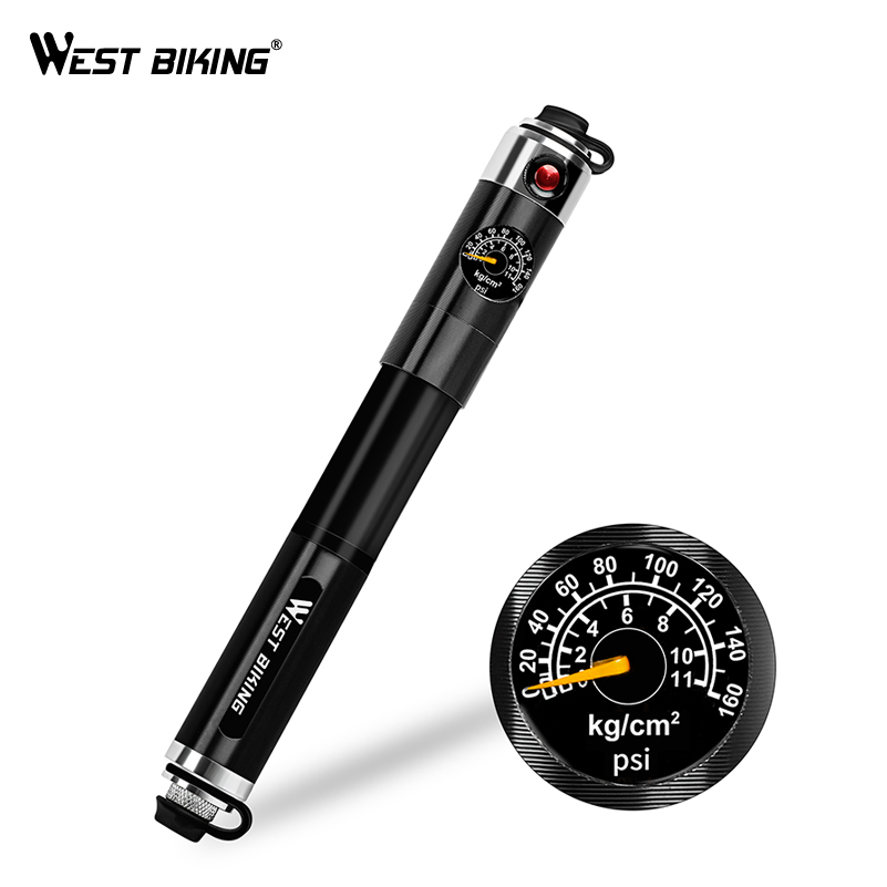 WEST BIKING Alloy Portable Hand Bicycle Pump Gauge Hose Bike Tire Inflator Schrader Presta Valve Needle Ball Cycling Pump good deal 4x billiard ball ball 8 tire valve cap for bicycle