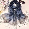 2016 новый прибытие темно-синий 200*90 см Супер Большой Размер шелк Шифон Шарфы Цветочный Печати Реальный Шелковые Шарфы шелковый платок женский