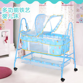 Multifunctional Iron Crib Portable With Roller Game Bed With MosquitoNet Universal Wheel Light Trolley Baby Rocking Chair 0-24M