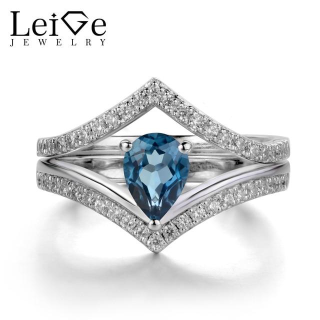 Leige Jewelry London Blue Topaz Ring for Women Wedding Engagement
