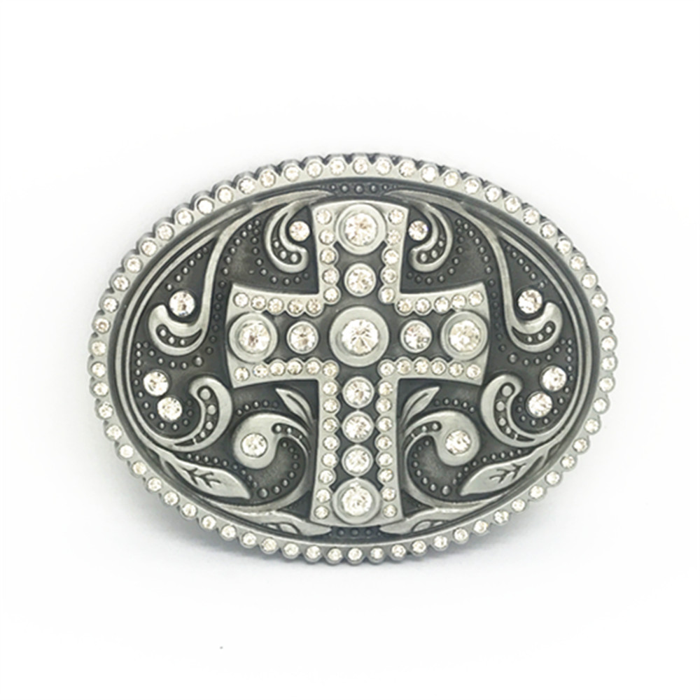 Vintage Arabesque Cross With Rhinestone Inlaid Metal Belt Buckle Cowboy Clip Belt Accessories