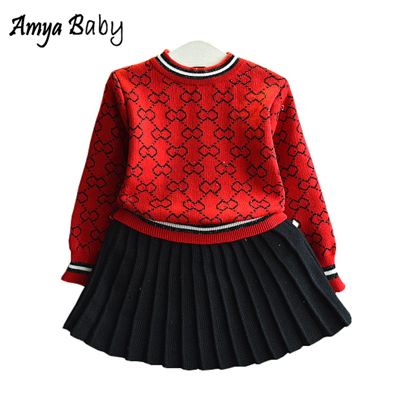 Amya Baby Toddler Girl Winter Outfits Knitted Sweater + Pleated Skirt 2pcs Autumn Girls Clothing Set Christmas Girls Outfit Sets