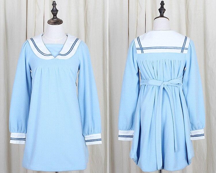 Kragen Dick Uniform Kawaii Navy Farben Beigeblau Lose Kleid Lolita Winter M Langarm dchen Style 2 Japan IYbf67gyv