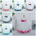 Free Shipping Retail Girl Dresses Children Dresses Party Dress Summer Princess Girl Dresses Wedding Long Petals 14 Colors