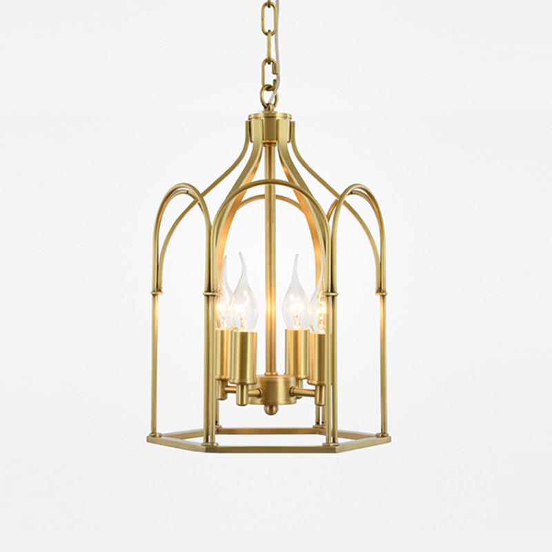 American Country Creative Attic LED Chandelier Modern Simple Copper Birdcage Villa Study Decoration Stairs Light Fixture tw l0603 led birdcage light yellow