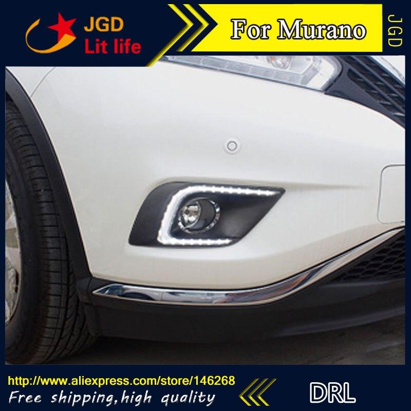 цена на Free shipping ! 12V 6000k LED DRL Daytime running light for Nissan Murano 2015 fog lamp frame Fog light