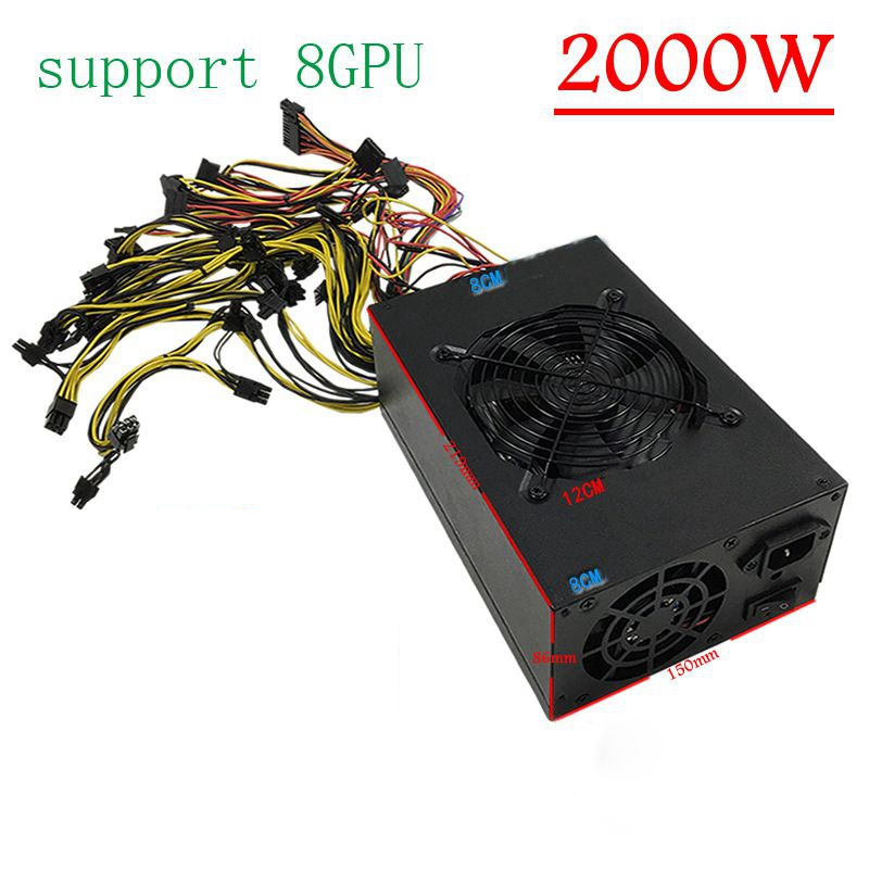 Cryptocurrency bitcoin mining rig 2000W power supply miner ethereum computer sever source for gtx1070 P106 R9 370 RX480 570 ...