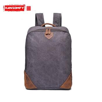 Original models retro men canvas shoulder bag backpack with the first layer of leather Laptop bag factory direct backpacks
