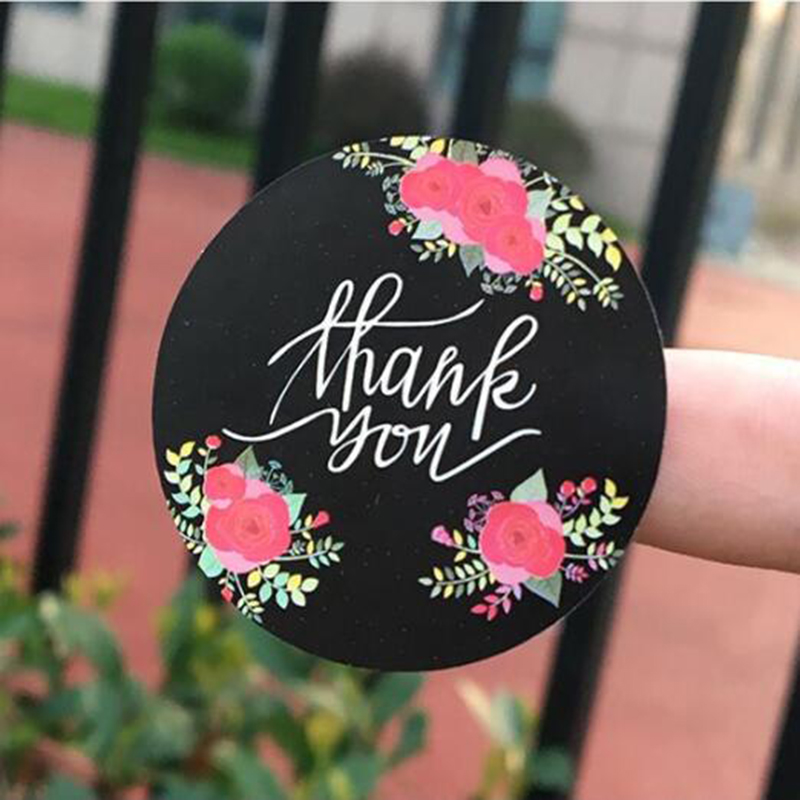 120 Pieces / Set, Round Color Baking Thank You Handmade Cake Sealant Packaging Tool Label From Kraft Paper Gift Sticker 38