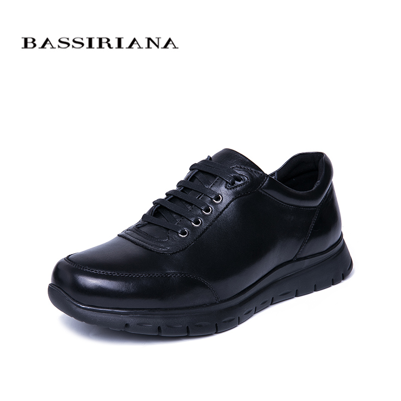 BASSIRIANA New Mens Casual Sneakers Natural Leather Spring Autumn Lace-up Black Free Shipping