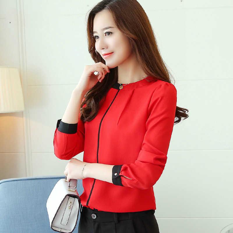 Шифоновая блузка женская рубашка 2019 с длинным рукавом Красная Женская одежда Офисная Женская блузка женские Топы Женская рубашка женские рубашки топ женский A91 30