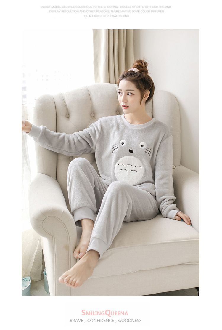 Women pajamas set Women Pyjamas Thick Flannel Cute Sheep Female Warm Winter Pajama Set Long Sleeve Full Trousers Two Piece 2019 70
