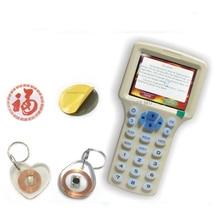 Английский 10 частоты RFID Копиры контроля доступа карты Дубликатор бесплатная декодировать программист Кристалл перезаписываемый + Дополнительные rfid-наклейки