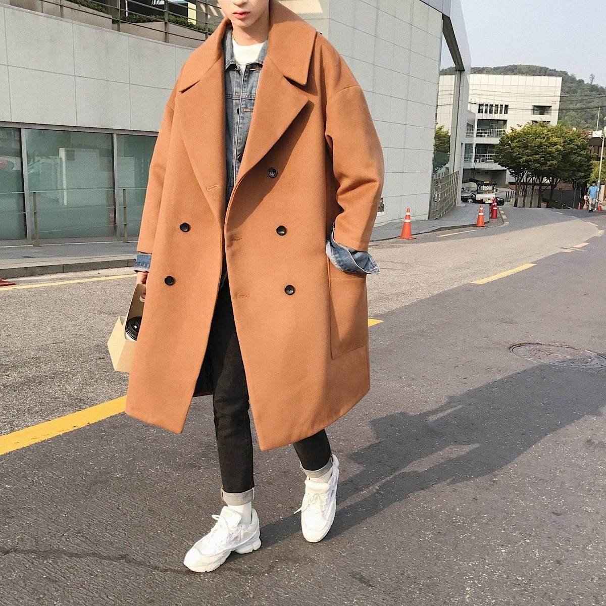 2018 Winter Men's Trench Wool Blend Casual Loose Cashmere Long Coats Woolen Windbreaker Outwear Cotton-padded Clothes M-2XL
