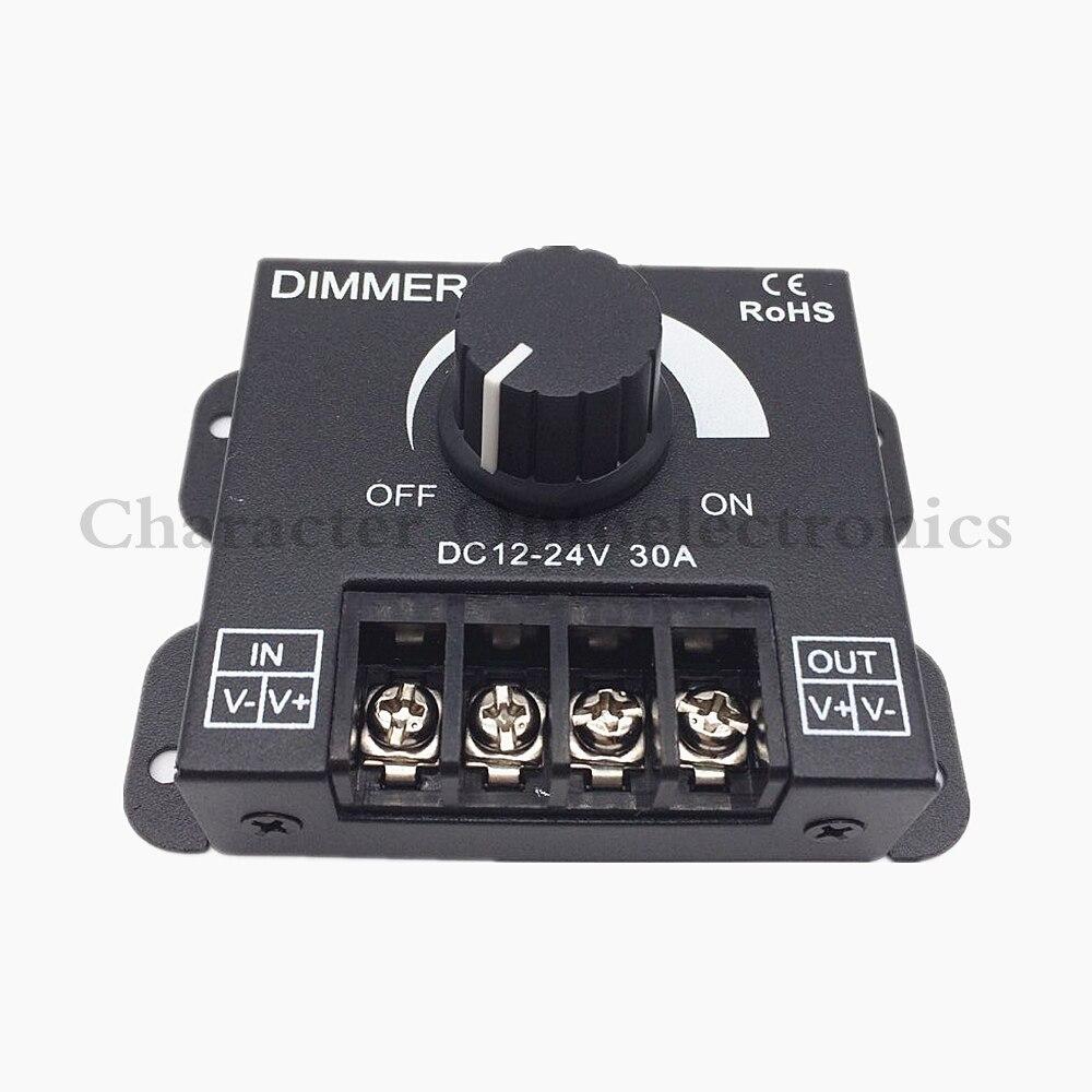 5pcs Dc 12v 24v 30a Balck Led Dimmer Switch Brightness