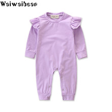 Waiwaibear Baby Rompers Spring Autumn Infant Toddler Long-Sleeved Jumpsuits Girls Pure Cotton Clothes AT28
