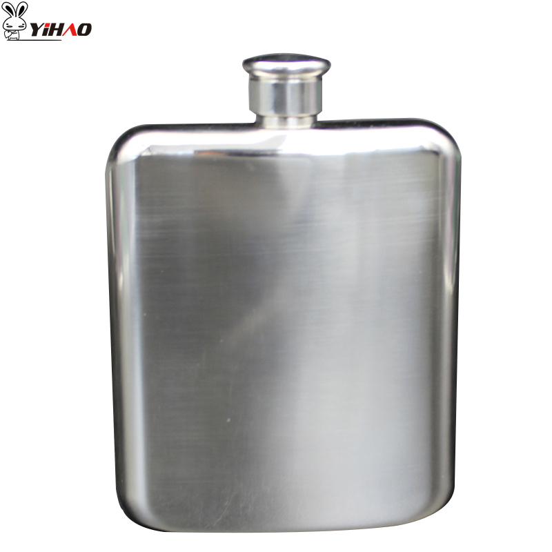 YIHAO 7 Ounces High Quality Hot Sale Thick 304 Stainless Steel Shaped Hip Flask Square Portable Flat Cover Wine Bottle