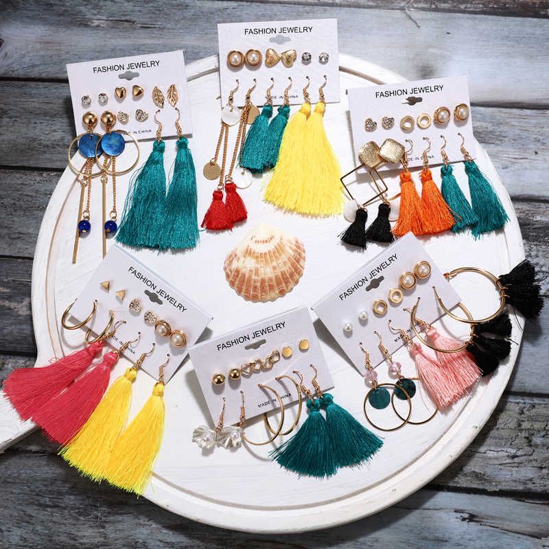 בציר ציצית אקריליק קריסטל עגילים לנשים בוהמי עגילי סט הרבעה עגיל 2020 Brincos נשי אופנה תכשיטי אוזן