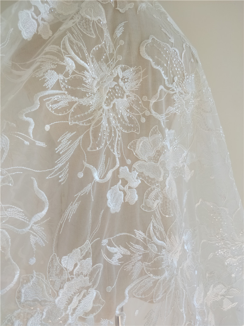 beaded flowers lace for wedding dresses 4