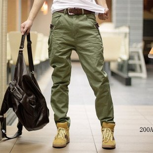 Mens Slim Type Collision Color Cotton Casual Pants
