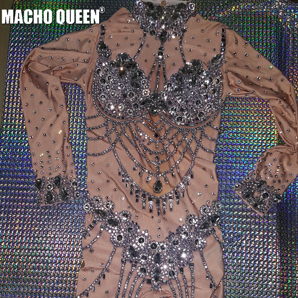 Nude Rhinestone Bodysuit Drag Queen Costumes Carnival Dancer Costume Sparkly Women Singer Stage Outfit Birthday  Party Wear