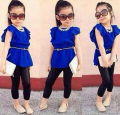 ST104 Free shipping 2014 new summer children's clothing set blue shirt dress + black leggings cool kids costume girls set retail