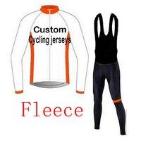 Custom Fleece Long Sleeve Cycling Clothing / Custom Winter Thermal Fleece Bicycle Clothing 2018 3D Silicone Cushion